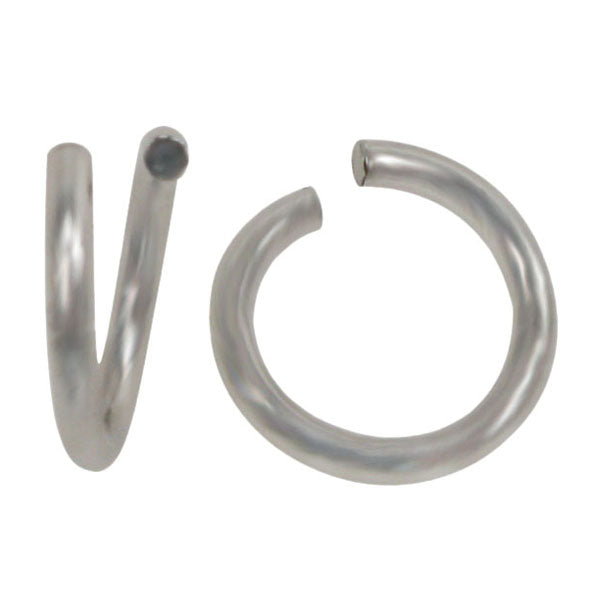 Jump Rings, Rhodium Plated on Sterling Silver, 6mm x 0.7mm, Sold Per pkg of 4