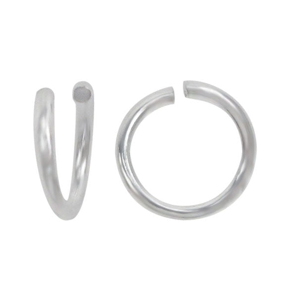 Jump Rings, Rhodium Plated on Sterling Silver, 6mm x 1mm, 2pcs