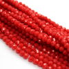 Chinese Glass Crystal, Rondelle, Medium Red Opaque, 4mm X 3mm, 140 pcs per strand