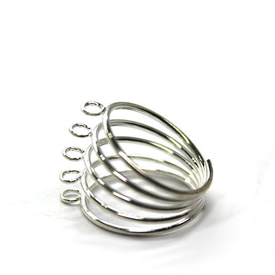 Base, Ring Base with 5 Rows & 5 Loops, Silver, Alloy, 17mm x 21mm x 3mm (loop), Sold Per pkg of 1