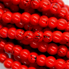 Marble Style Glass Beads, Red Opaque, 4mm  - 1mm (hole), 195 pcs per strand