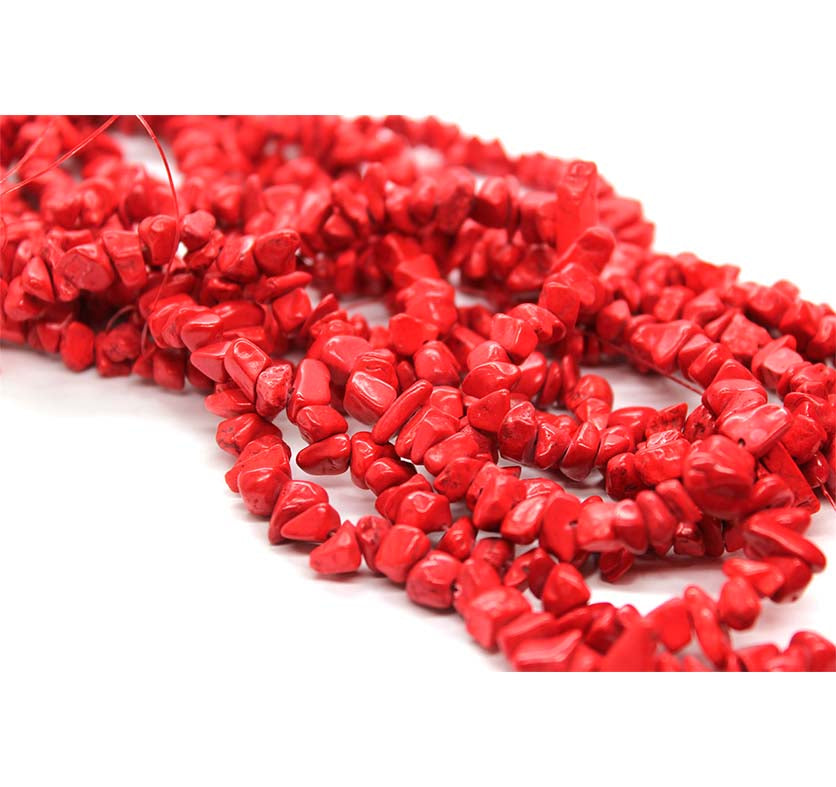 Chipped Red Turquoise, Semi-Precious Stone, Approx. 300 pcs per strand