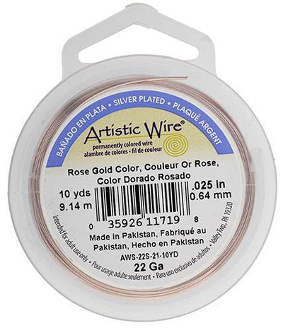 Artistic Wire - 10 yards - Silver Plated, Rose Gold, 22 gauge