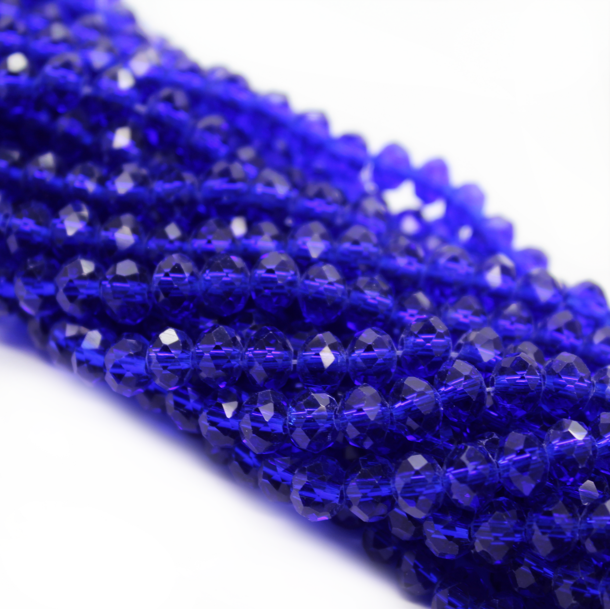 Chinese Glass Crystal, Rondelle, Royal Blue, 6mm X 4mm, 95 pcs per strand
