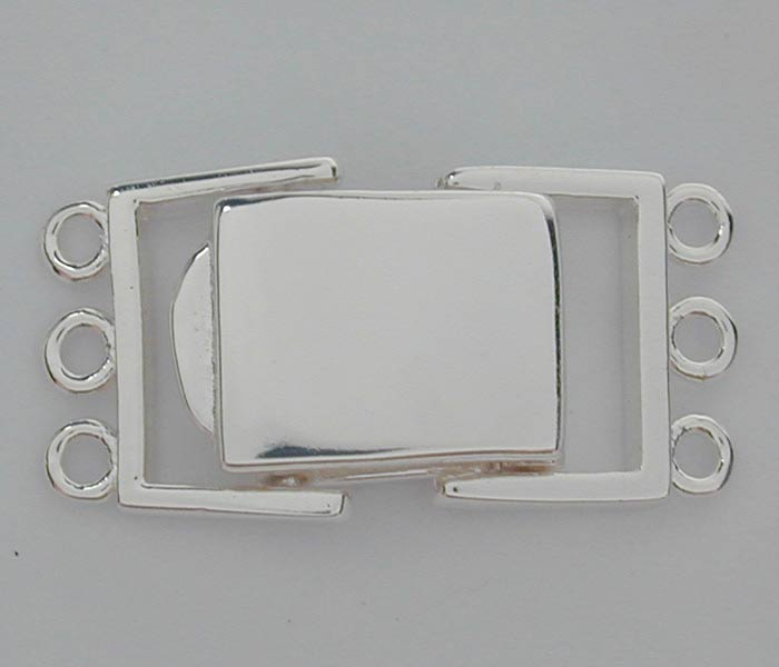 Clasp, 3 Strand Square Clasp, Sterling Silver, 23mm, Sold Per pkg of 1 set