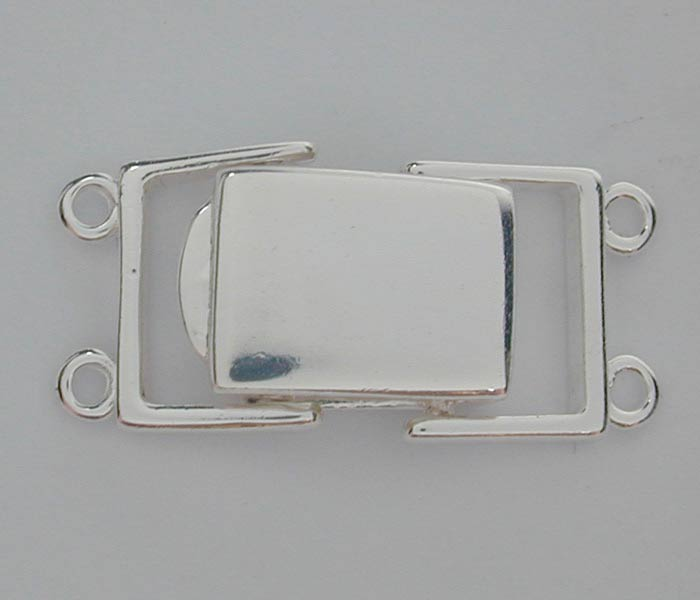 Clasp, 2 Strand Square Clasp, Sterling Silver, 23mm, Sold Per pkg of 1 set