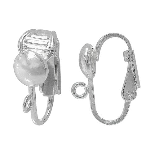 Earrings, Sterling Silver, Clip on Earring, 16mm x 12mm, Sold Per pkg of 1 pair