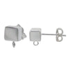 Earring, Sterling Silver, Square Studs w/loop - 5mm X 5mm - 1 pair