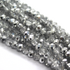 Chinese Glass Crystal, Rondelle, Silver, 4mm X 3mm, 140 pcs per strand
