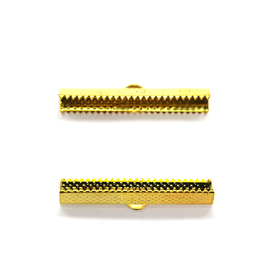 Terminators, Ribbon Crimp Ends, Gold, Alloy, 40mm x 8mm x 6mm, Sold Per pkg of 8
