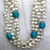 2 Strand Fresh Water Pearl Necklace with Blue Turquoise, 6 & 8mm, 31 inch - Butterfly Beads