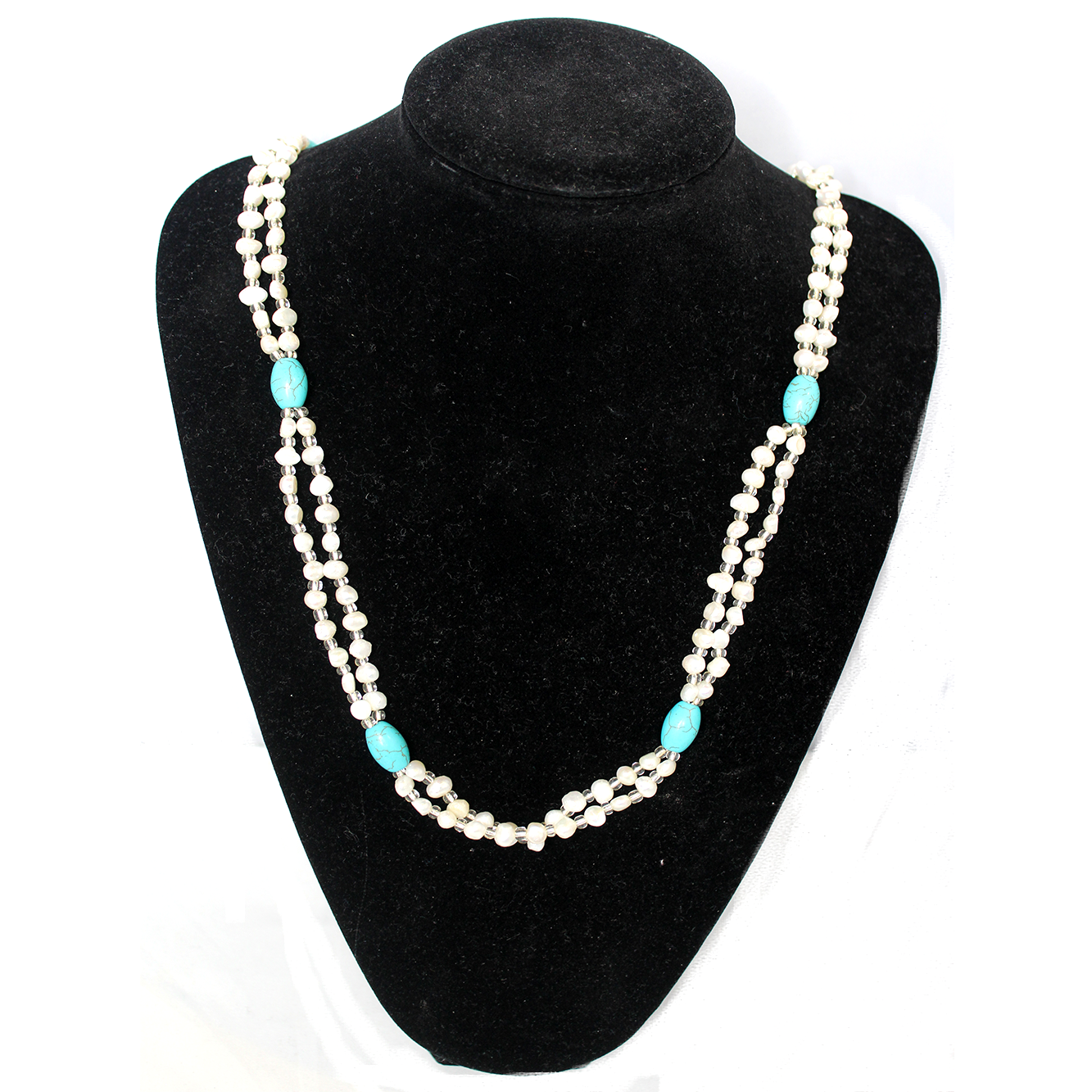 2 Strand Fresh Water Pearl Necklace with Blue Turquoise, 6 & 8mm, 31 inch