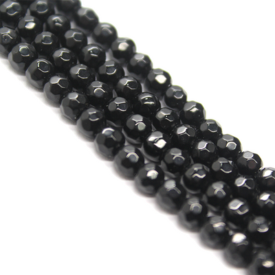 Black Agate Faceted, Semi-Precious Stone, 12mm, 32 pcs per strand