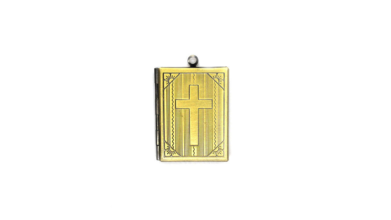 Pendant, Book Locket, Brass, Alloy, 39mm x 27mm X 6mm, Sold Per pkg of 1
