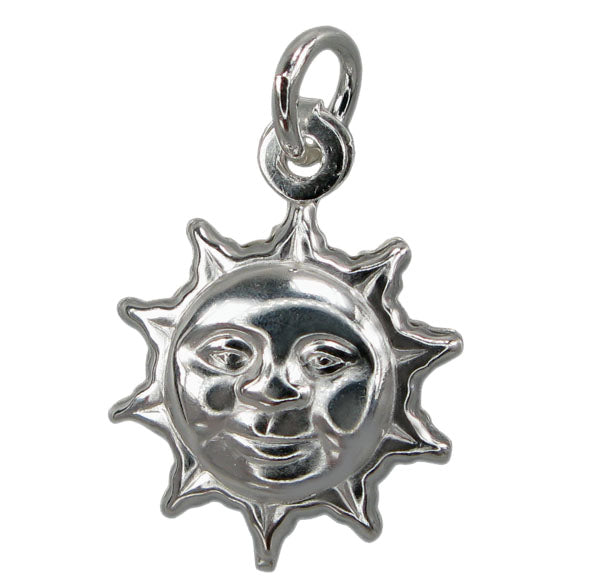 Charm, Sun , Sterling Silver,  11mm x 4.5mm , Sold Per pkg of 1