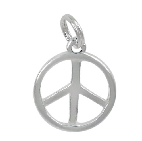 Charm, Peace Sign, Sterling Silver, 5mm Diameter , Sold Per pkg of 1