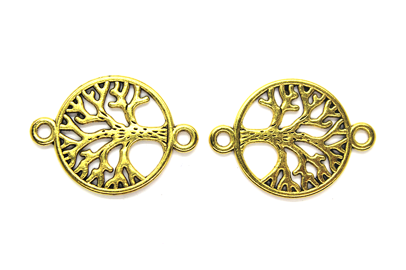 Connector, Large Tree of Life, Gold, Alloy, 27mm x 20mm,  Sold Per pkg of 12