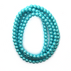 Glass Pearls, Electric Blue, 6mm - 1mm (hole), 140 pcs per strand
