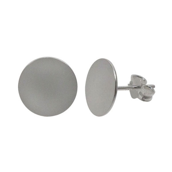 Earring, Sterling Silver, Flat Stud - 6mm D x 11mm  - 1 pair