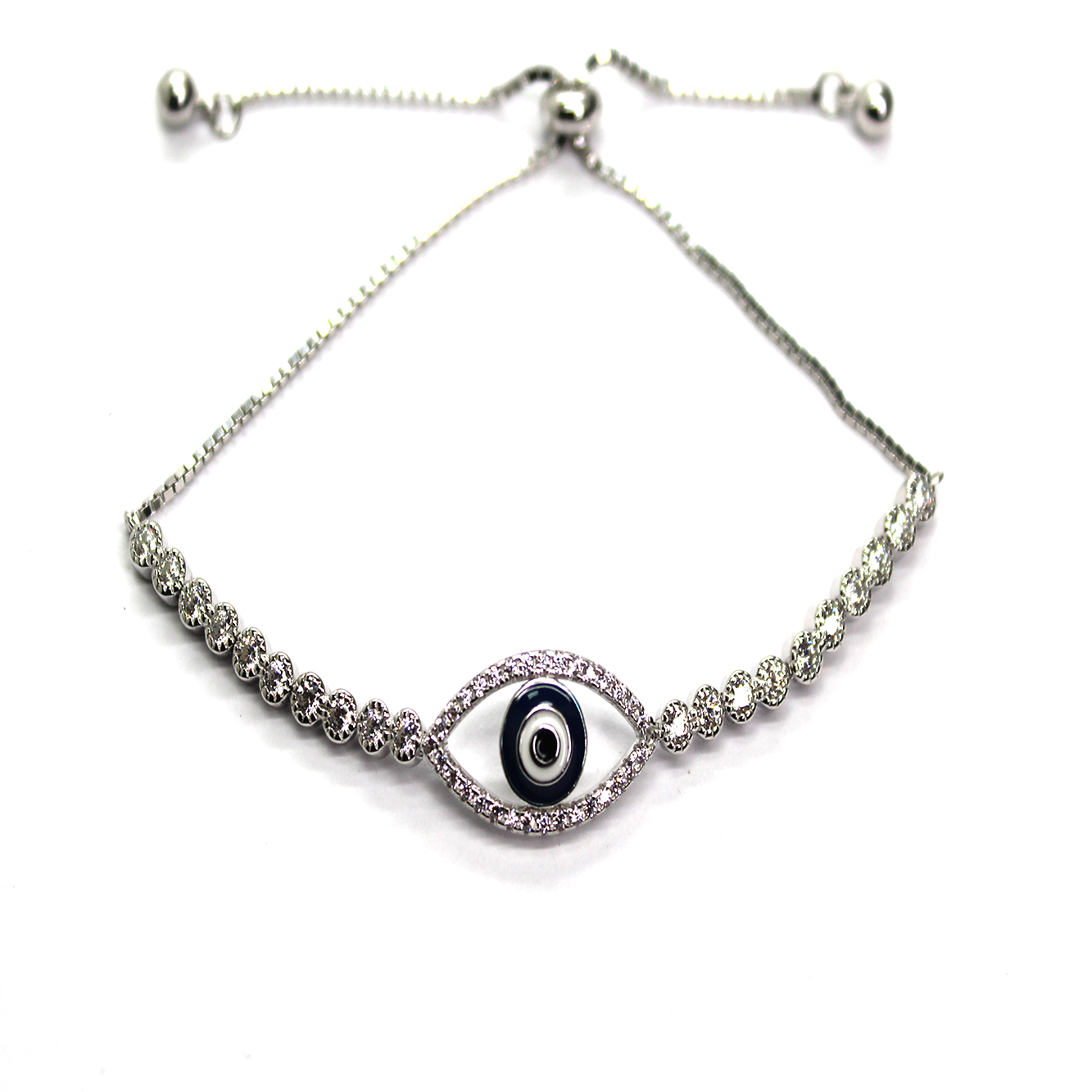 Adjustable Evil Eye Bracelet, Sterling Silver with Rhodium, Baby Blue or Dark Blue 10x20mm (eye), 3mm (CZ) - Butterfly Beads