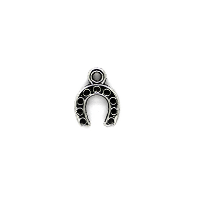 Charms, Dotted Horseshoe, Silver, Alloy, 14mm X 11mm X 2mm, Sold Per pkg of 8