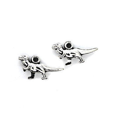Charms, Tyrannosaurus, Silver, Alloy, 20mm X 11mm X 4mm, Sold Per pkg of 8