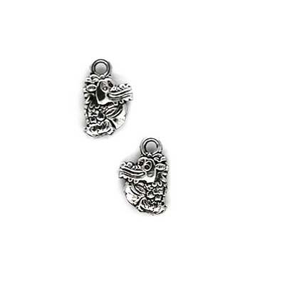 Charms, Cartoon Dragon, Silver, Alloy, 14mm X 9mm, sold Per pkg of 10