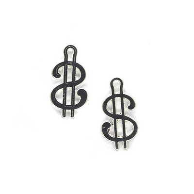 Charms, Dollar Sign, Silver, Alloy, 17mm X 9mm, Sold Per pkg of 6