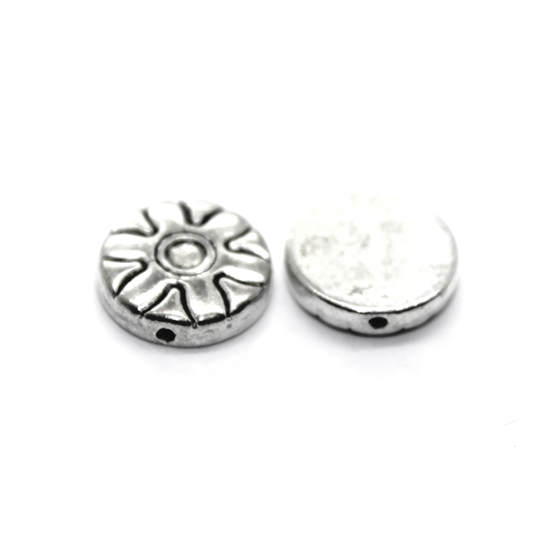 Spacers, Flat Round Flower Spacer, Alloy, Silver, 12mm X