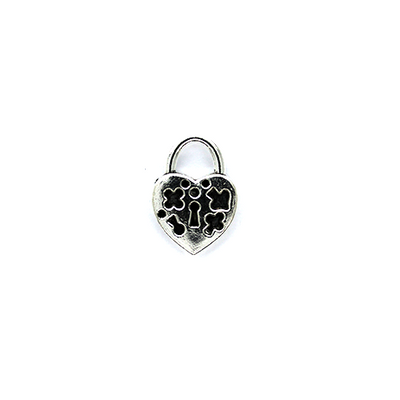 Charms, Locked Heart, Silver, Alloy, 23mm X 16mm X 4mm, Sold Per pkg of 2