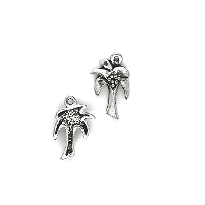 Charms, Tropical Tree , Silver, Alloy, 20mm X 18mm X 2mm, Sold Per pkg of 8