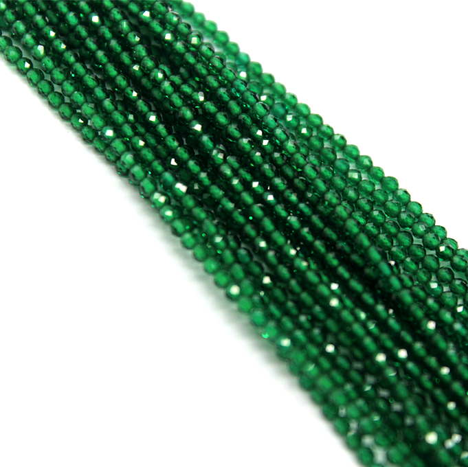 Faceted Green Jade, Semi-Precious Stone, 2mm, 208 pcs per strand