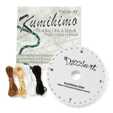 Kumihimo Disk - Round Braid w/ Rattail (4 colors) - 15cm-2.5cm Hole 8yds