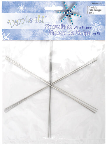 Dazzle It - Snowflake Wire Frame, 21 gauge, 6 inches, 5pcs
