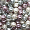 Shell Pearls, Silver Purple & White, 10mm x 1mm (hole), 38pcs per strand