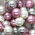 Shell Pearls, Pink White & Silver, 6mm x 1mm (hole), 62pcs per strand