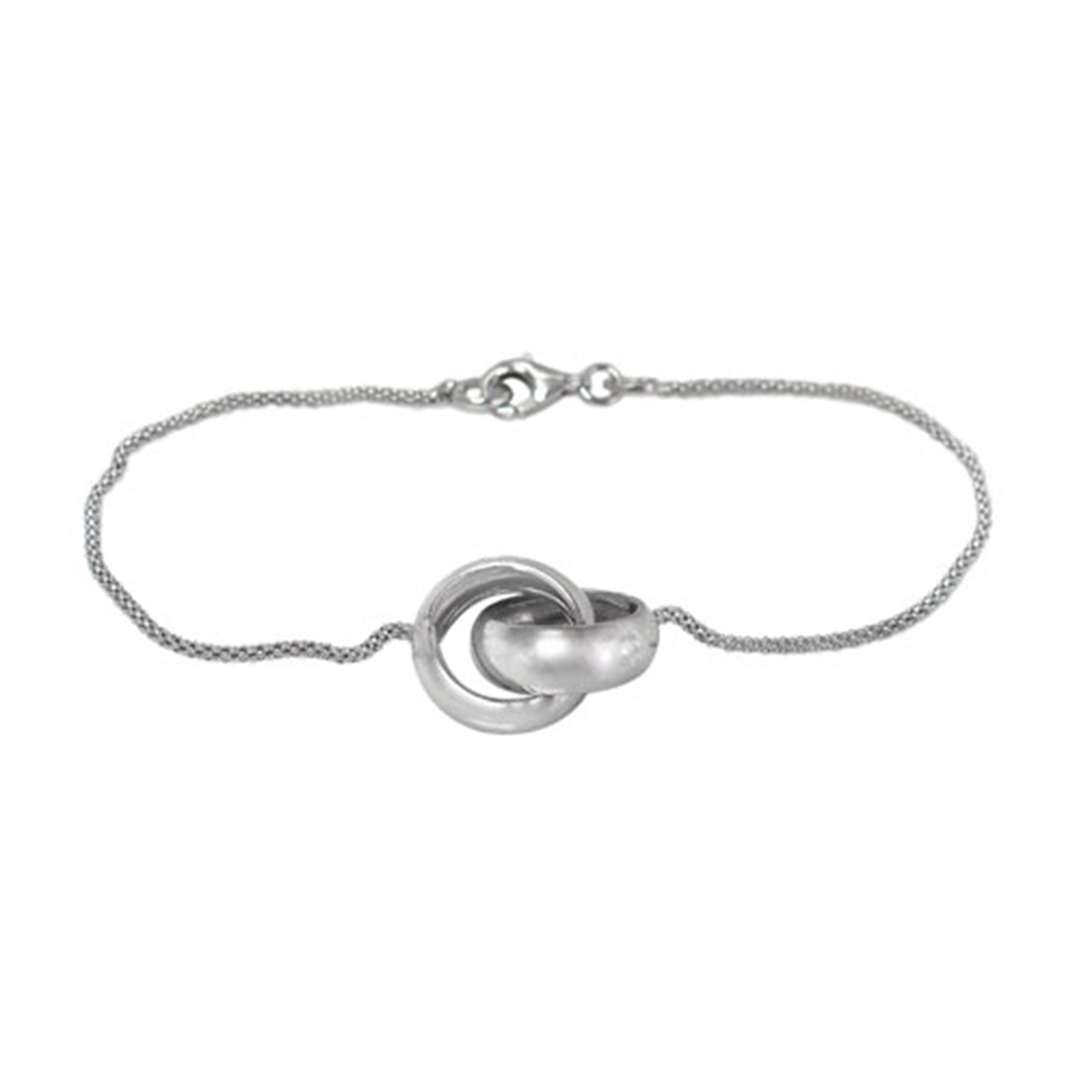 Ring Bracelet, Sterling Silver with Rhodium, 14mm ring, 8 inch