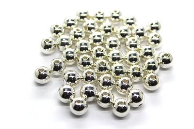 Beads, Non-Tarnish Silver, 6mm, 40 grams