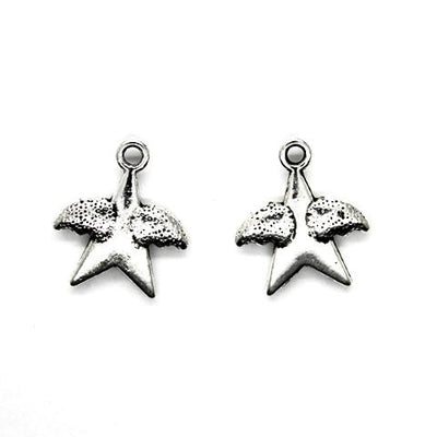 Charms, Winged Star, Silver, Alloy, 18mm X 15mm, Sold Per pkg of 6