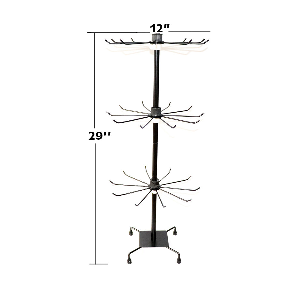 "Tools, Multipurpose Rotating Jewelry Tower, 29"" x 12"", 30 Hangers for Necklaces, Bracelets, Keys Etc. Available in Black and White - 1 Stand"