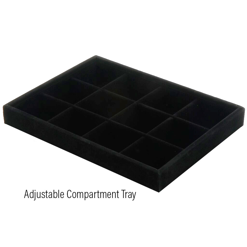 "Tools, Black Jewelry Tray Organizer, Velvet, Earring Necklace Bracelet Ring Organizer that are Stackable, 13.8"" x 9.5""- 1pc"