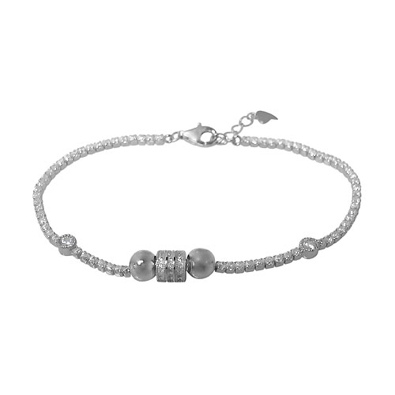 Tennis Bracelet, Sterling Silver with Rhodium, 7 inch