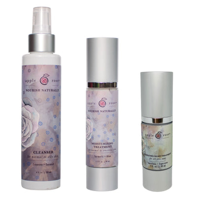 Clear Skin + Nighttime Care Bundle from Apple Rose Beauty natural and organic skin care and organic beauty