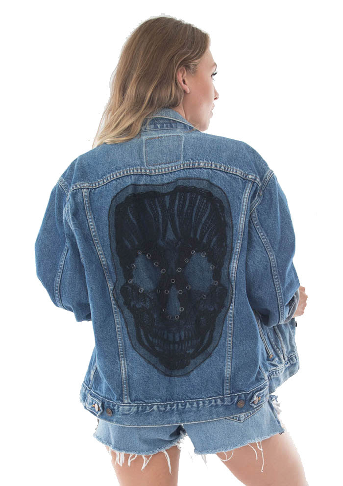 black skull applique denim jacket