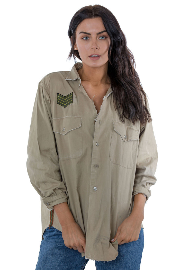 repurposed khaki button up shirt with patches