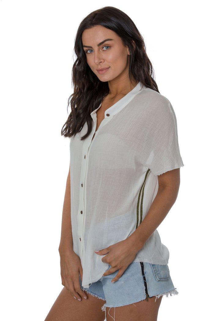 Glitter Trim Short Sleeve Shirt