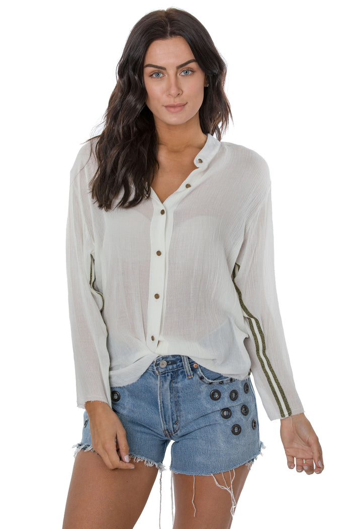 Glitter Trim Long Sleeve Shirt
