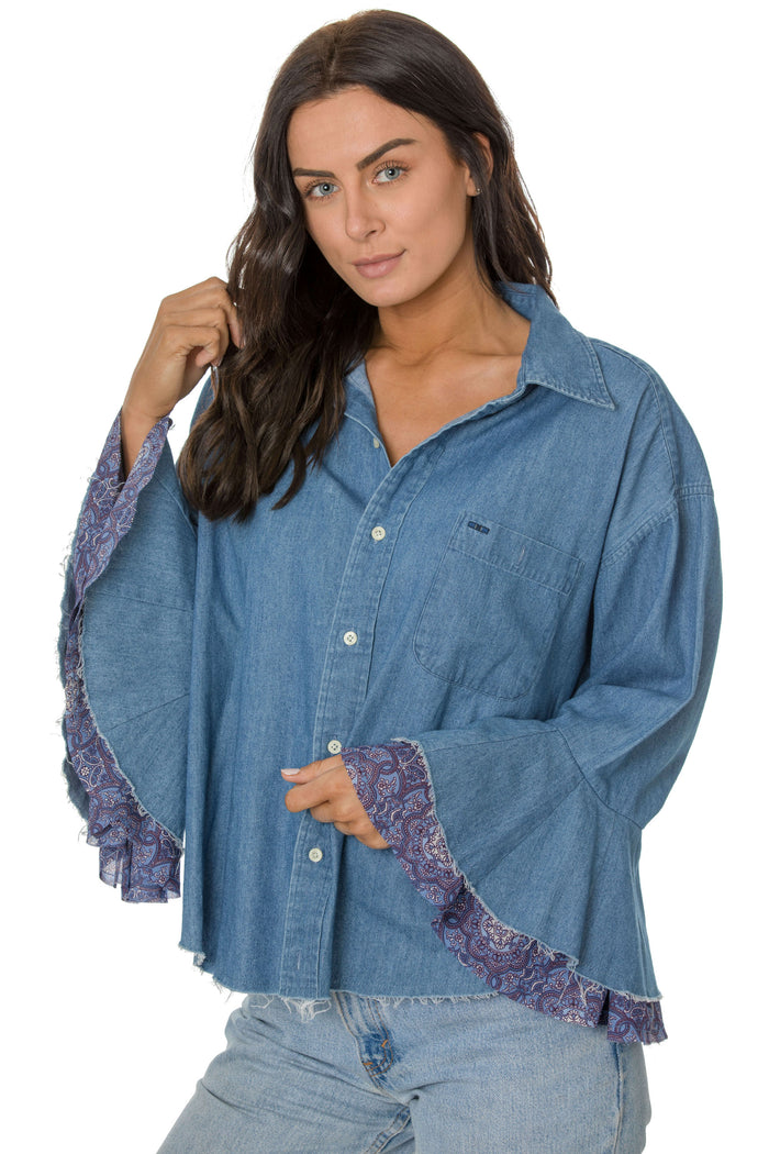 Denim Flutter Chiffon Shirt