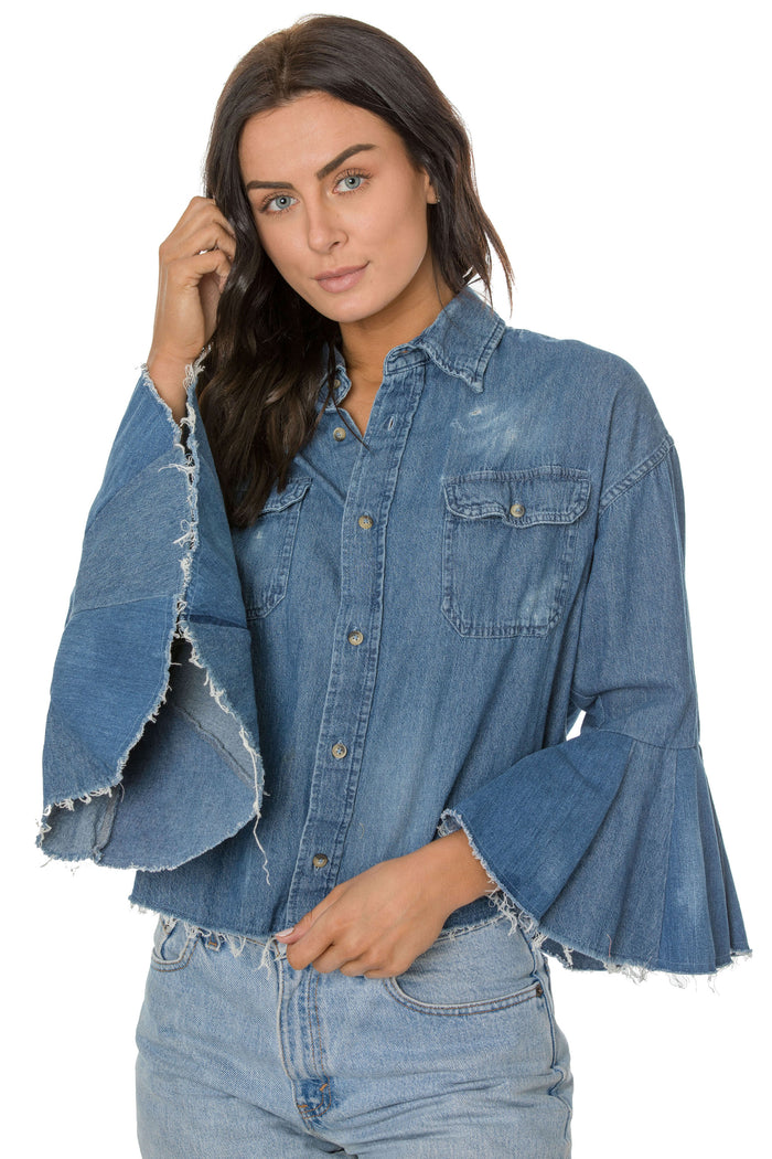 Denim Flutter Shirt