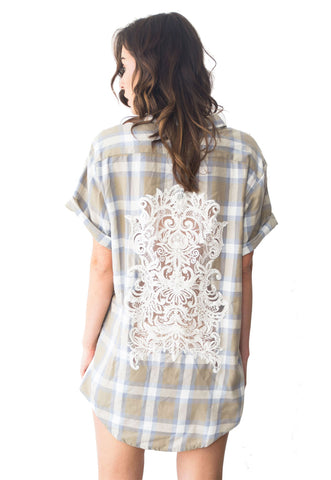 *Short Sleeve Vintage Bridal Back Flannel